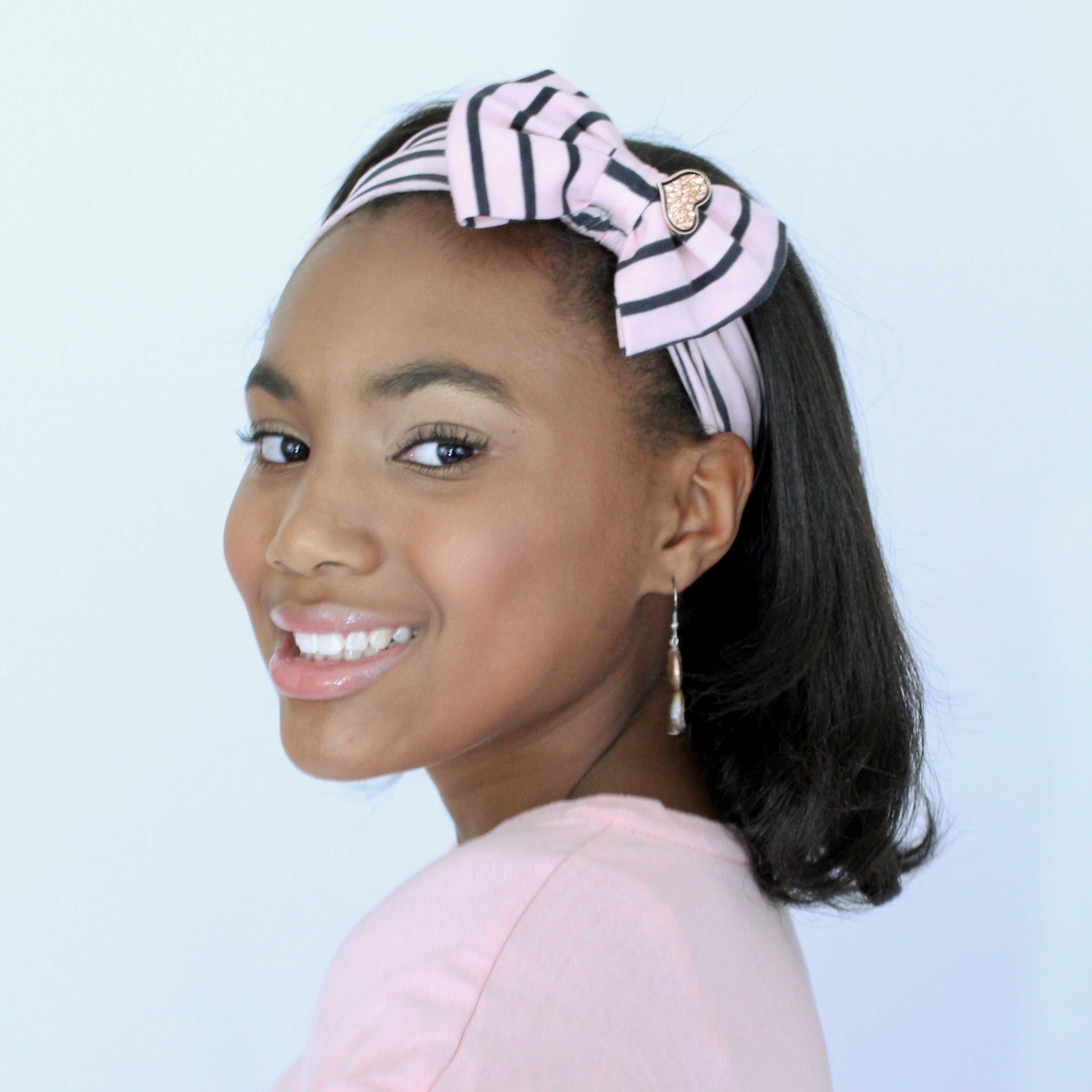 Taylor Pink & Black Stripe Rose Gold Heart Stretch Headband - Houzz of DVA Boutique