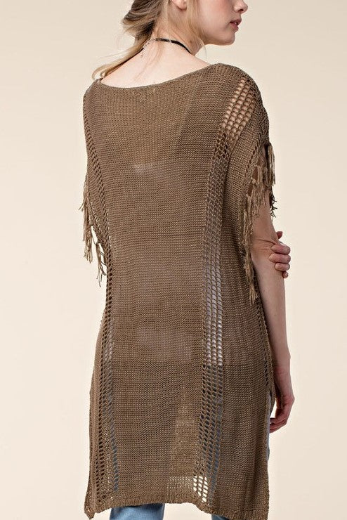 Cole Sleeveless Sweater Tunic in Mocha - Houzz of DVA Boutique