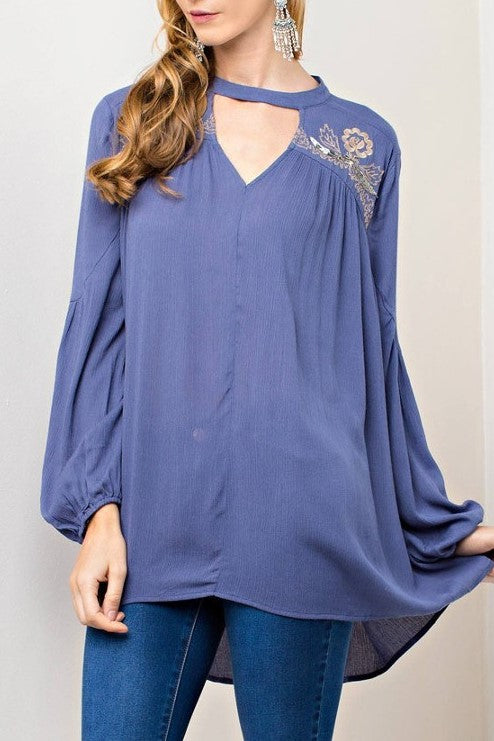 Lauren Choker-Neck Beaded Embroidered Swing Blouse in Slate Blue - Houzz of DVA Boutique