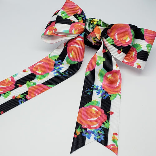 Mini Mariah Floral Cheer Style Hair Bows in B&W/Pink Multi - Houzz of DVA Boutique