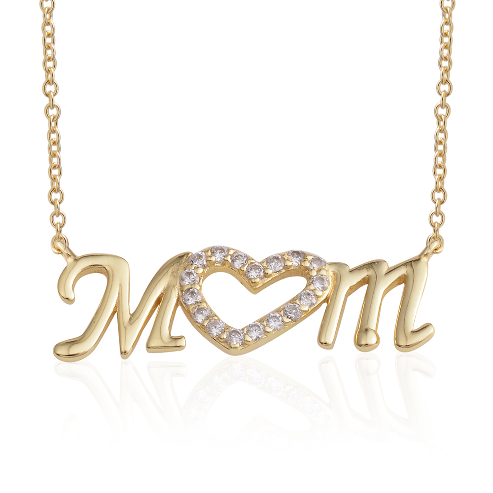 I Love You MOM Necklace 14K YG Over Sterling Silver - Houzz of DVA Boutique