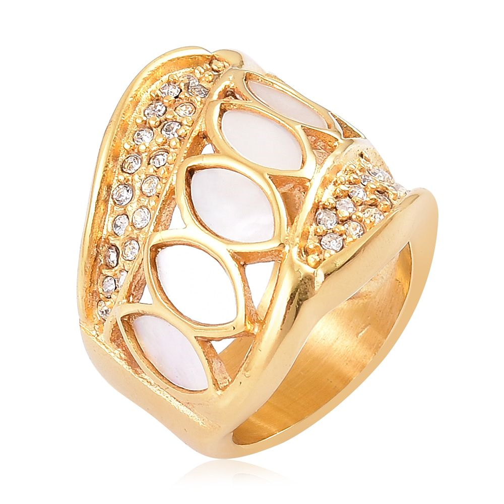 Mother of Pearl,White Austrian Crystal ION Plated YG Ring - Houzz of DVA Boutique