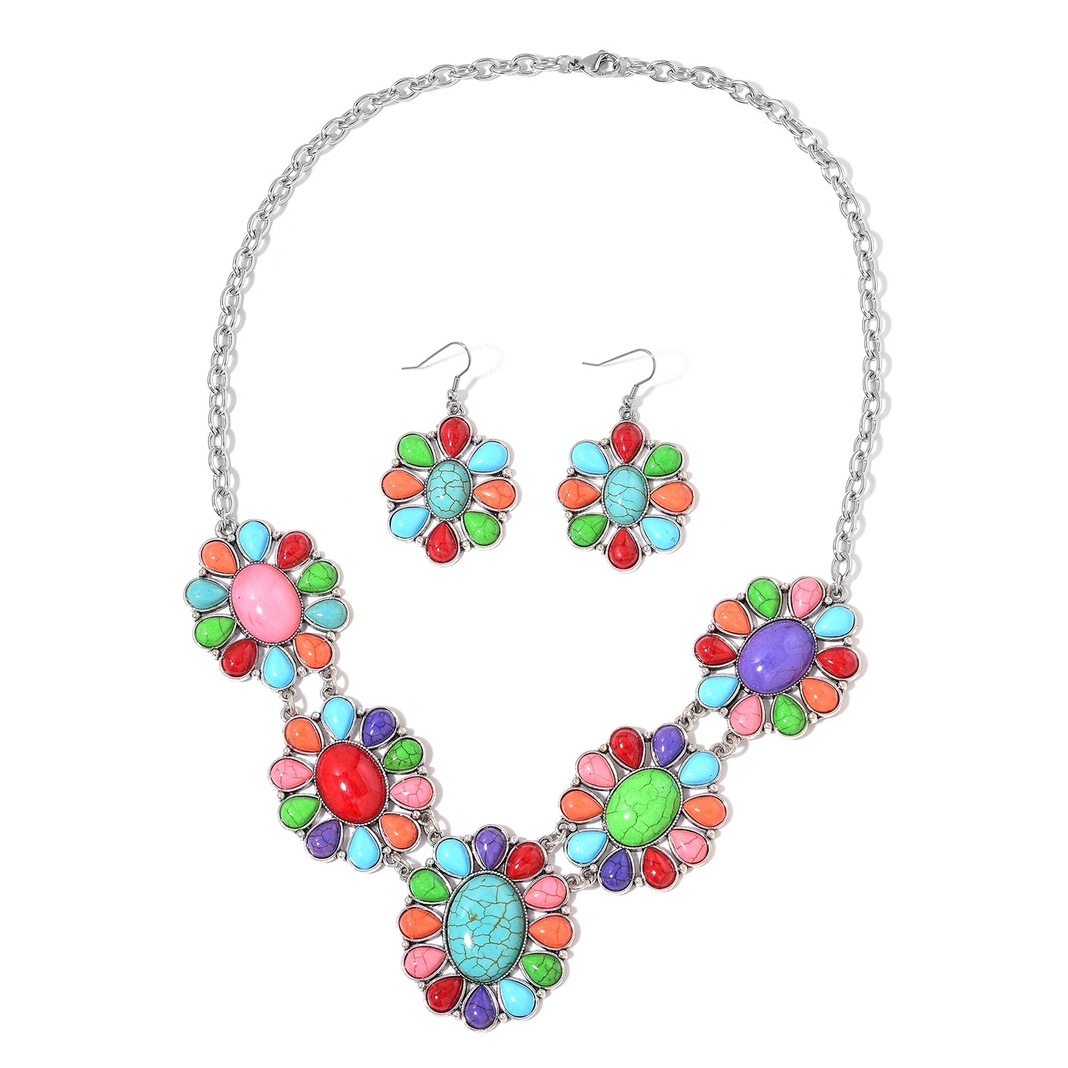 Multi-Color Garland of Daisy Flowers Howlite Stainless-Steel Earrings and Bib Style Necklace TGW 264.00 cts - Houzz of DVA Boutique