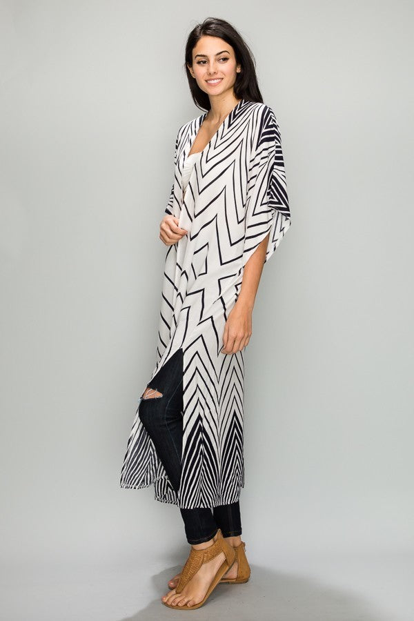 Barely Black Chevron Kimono in Midnight Navy and White - Houzz of DVA Boutique