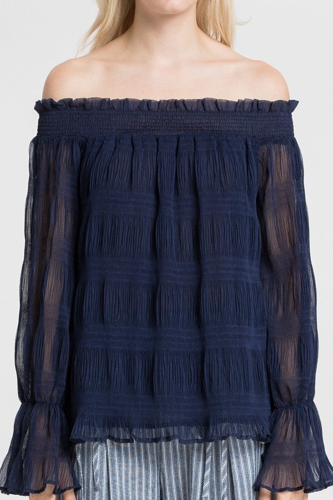 Such A Show-off Sheer Navy Top - Houzz of DVA Boutique