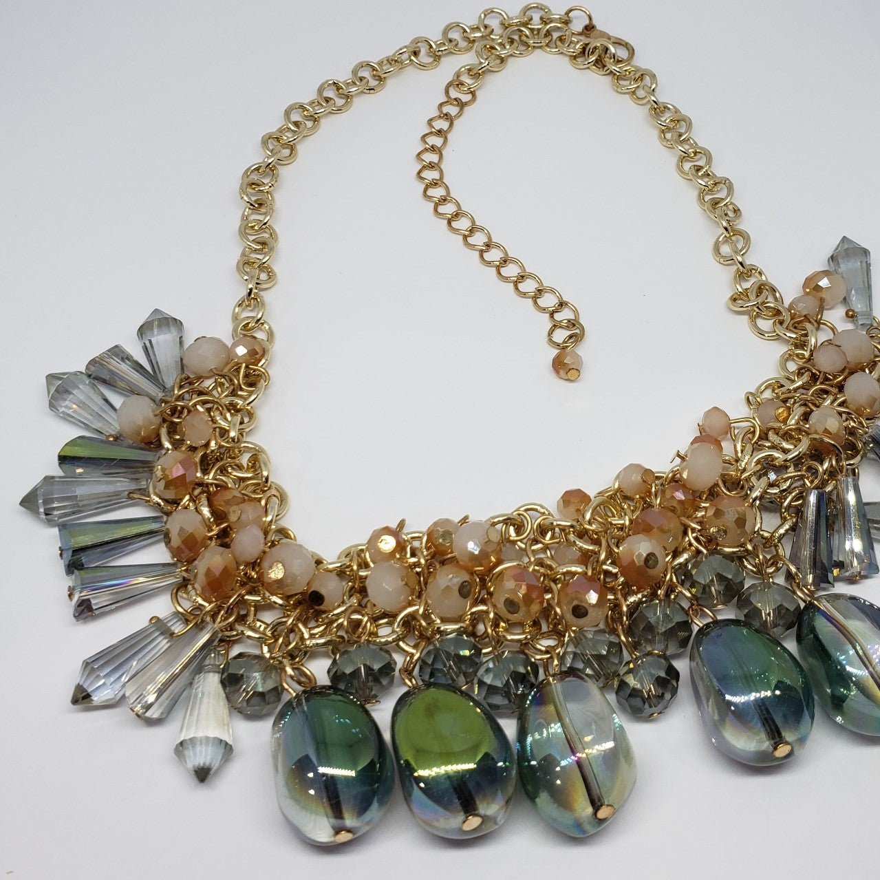 One to Own Multi Color Peach Magic Glass Bib Style Necklace - Houzz of DVA Boutique