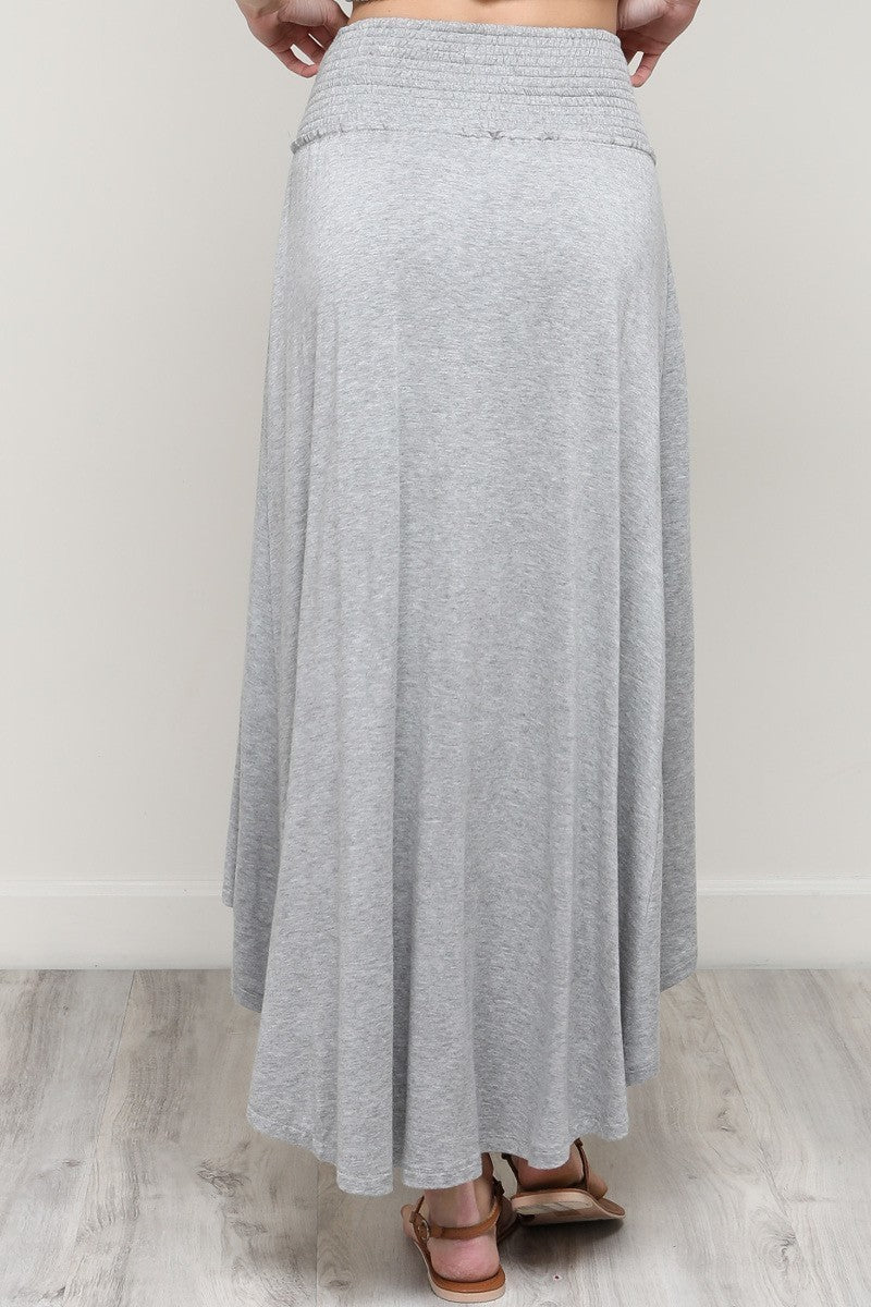 Phyona Smocked Band Skirt and Crop Top Set in Heather Gray - Houzz of DVA Boutique