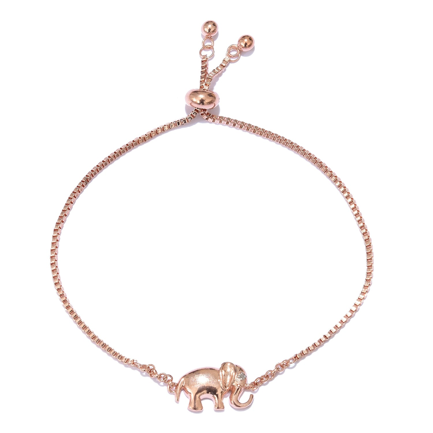 Diamond Accent Elephant Charm Bolo Bracelet in Rose Gold Over Sterling Silver - Houzz of DVA Boutique