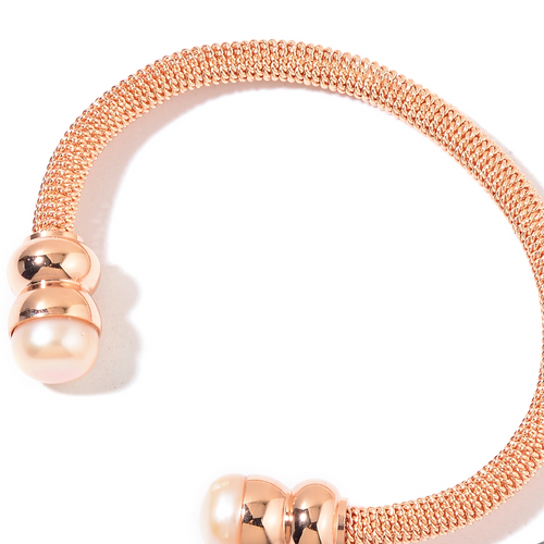 Freshwater Pearl Rose Gold Over Stainless Steel Twisted Cuff (7.50 in) - Houzz of DVA Boutique