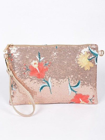 Isle of Spice Where Everything Nice Large Sequin Floral Clutch in Rose Gold - Houzz of DVA Boutique