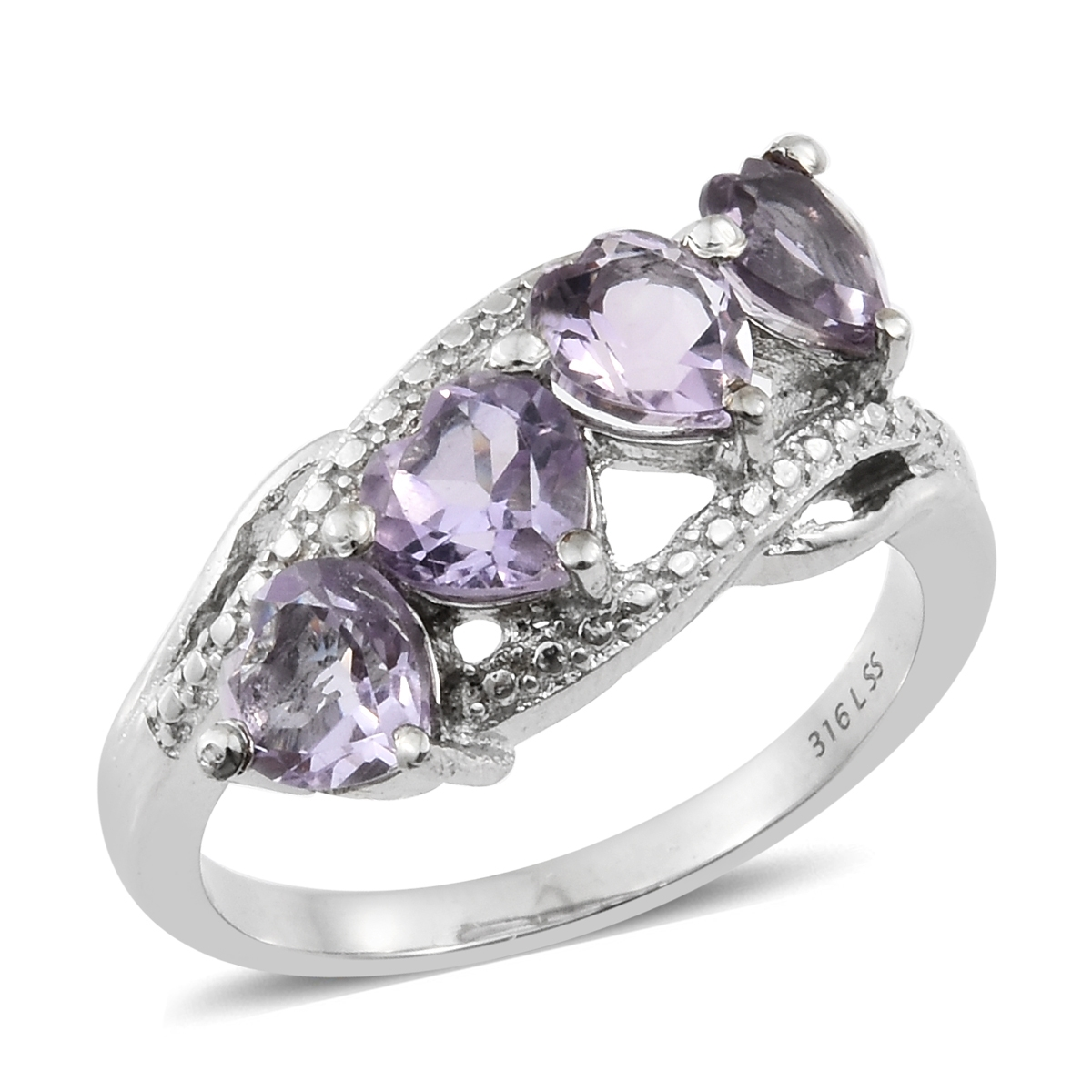 Rose De France Amethyst Stainless Steel 4 Heart Ring TGW 2.80 cts. - Houzz of DVA Boutique
