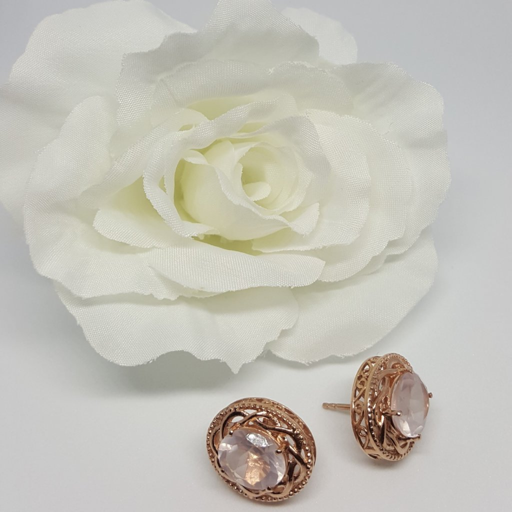 Galilea Rose Quartz 14K Rose Gold Over Sterling Silver Oval Stud Earrings TGW 4.86 cts. - Houzz of DVA Boutique