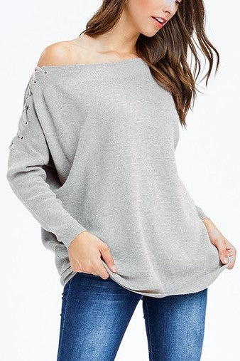 Alice Dreamer Light Grey Lace Up Off-the Shoulder Dolman Long Sleeve Sweater - Houzz of DVA Boutique