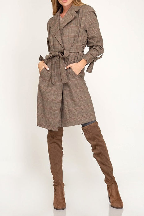 Hayden Mad for Plaid Glen Print Trench in Mocha - Houzz of DVA Boutique