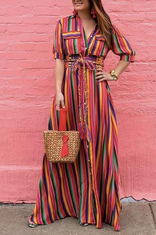 Sabrina Rainbow Print Button Down Maxi Dress - Houzz of DVA Boutique