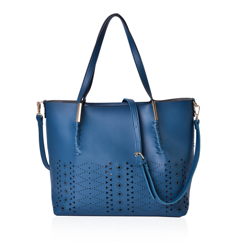 She is Razor Sharp Vegan Tote in Teal and Burgundy - Houzz of DVA Boutique