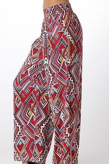 Tobin Tribal Print Palazzo Pants in Burgundy Multi - Houzz of DVA Boutique