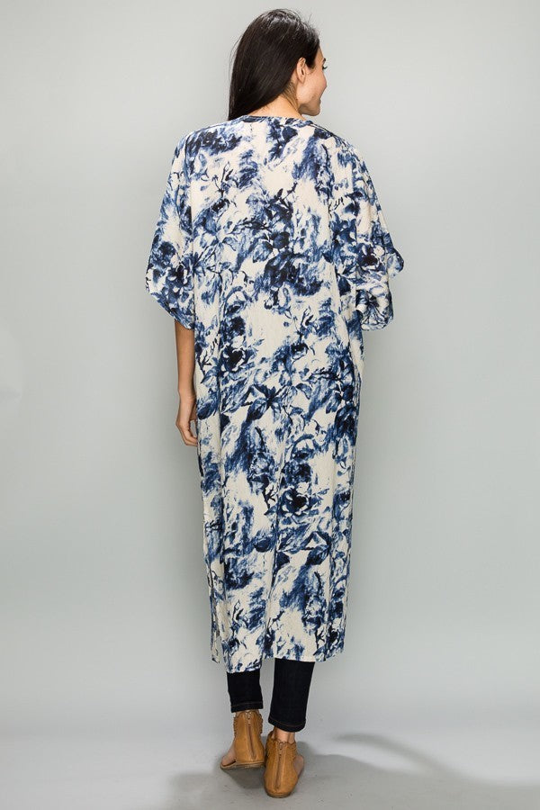 Blue Me Away Kimono in Navy and White - Houzz of DVA Boutique