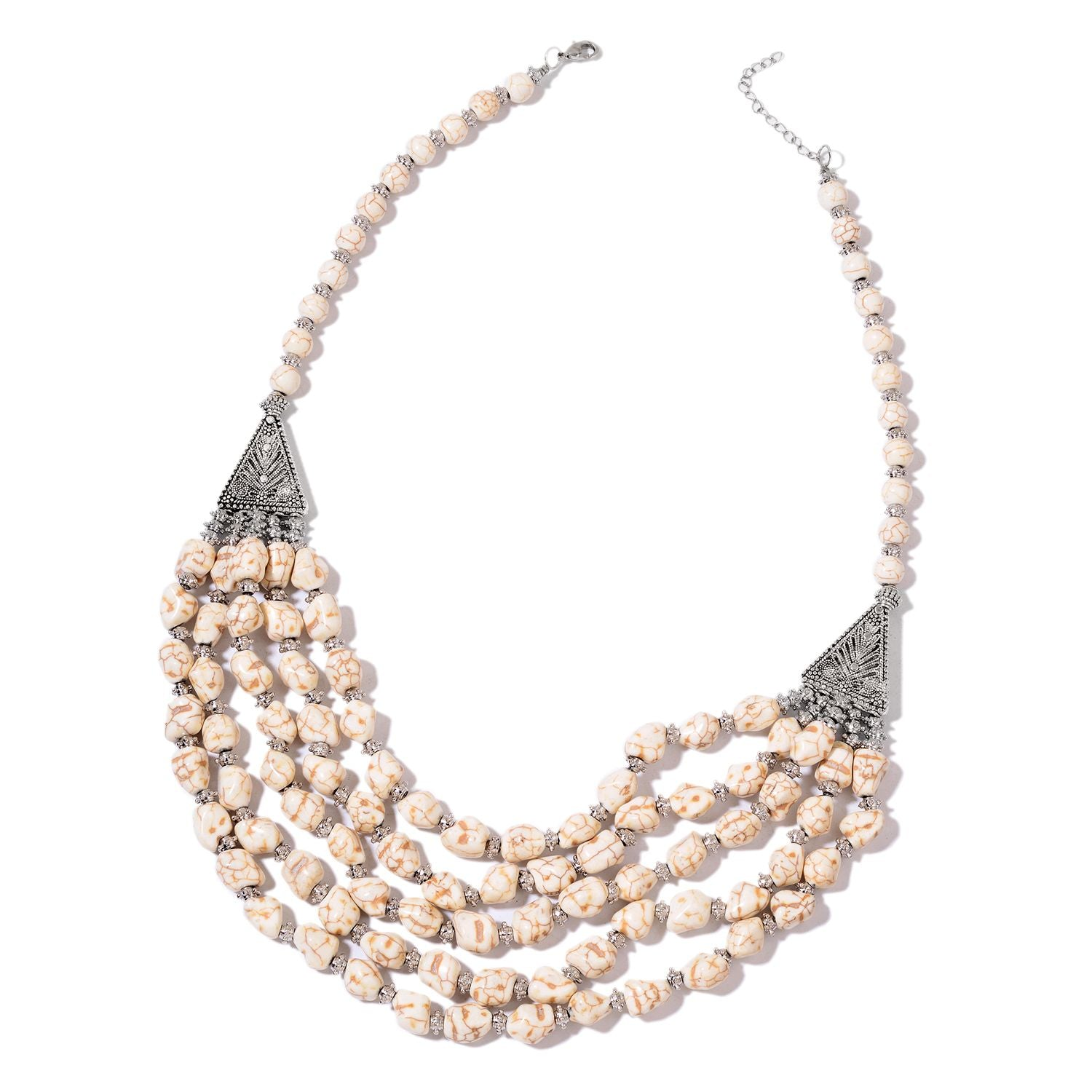 White Howlite Beads Triple Row Drape Necklace in Silver-tone TGW 970.00 cts - Houzz of DVA Boutique