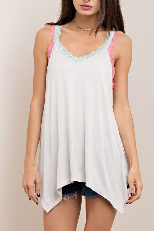 Pepper Multi Color Lace Trim Tank in Light Grey - Houzz of DVA Boutique