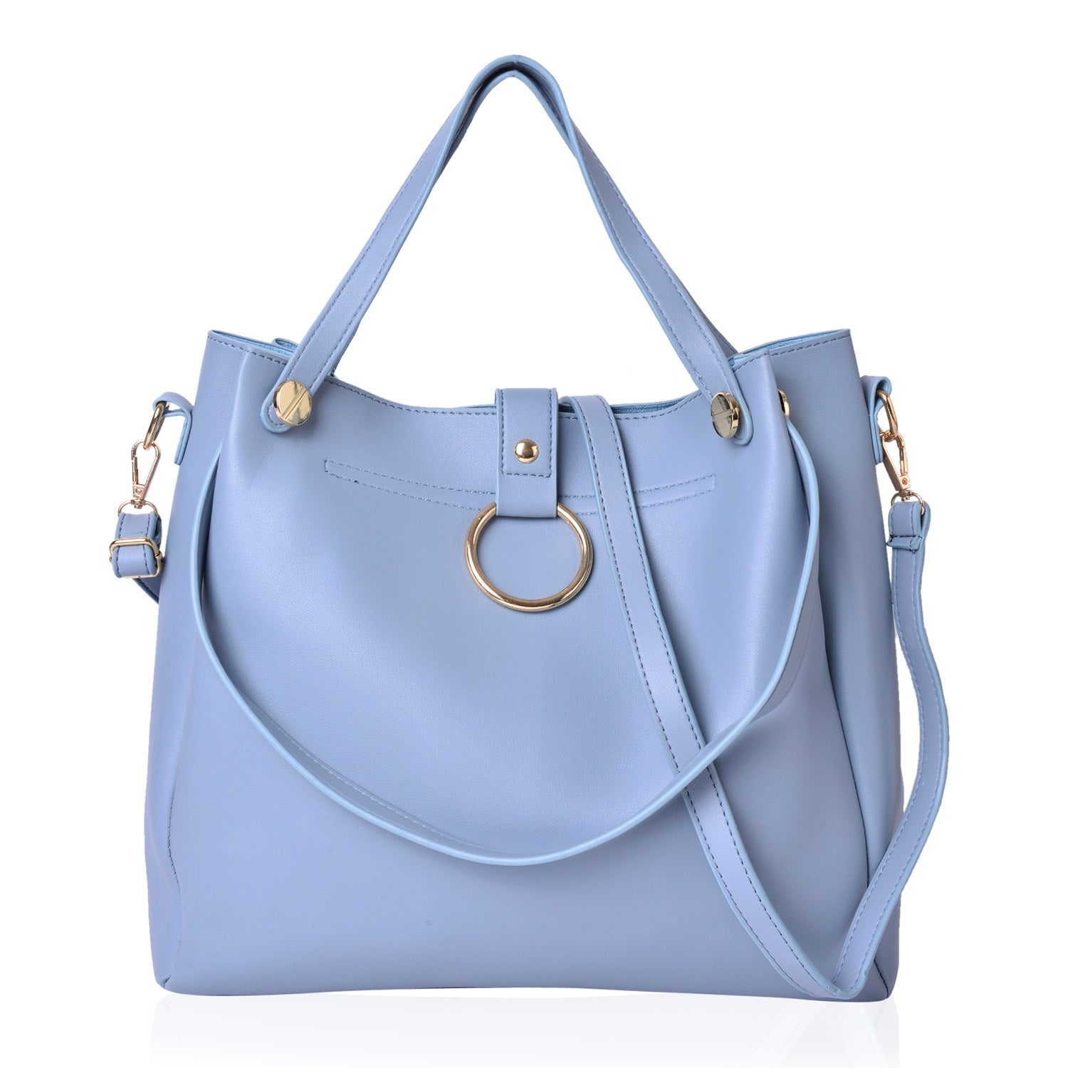 Bridget-B Vegan Leather Tote & Matching Crossbody in Slate Blue - Houzz of DVA Boutique