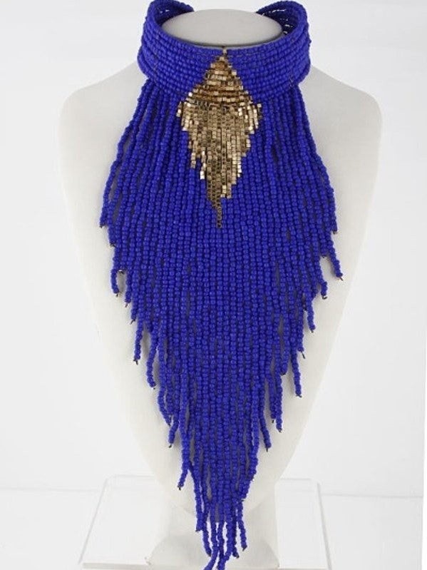Fit for A Queen Cobalt Blue Statement Choker - Houzz of DVA Boutique