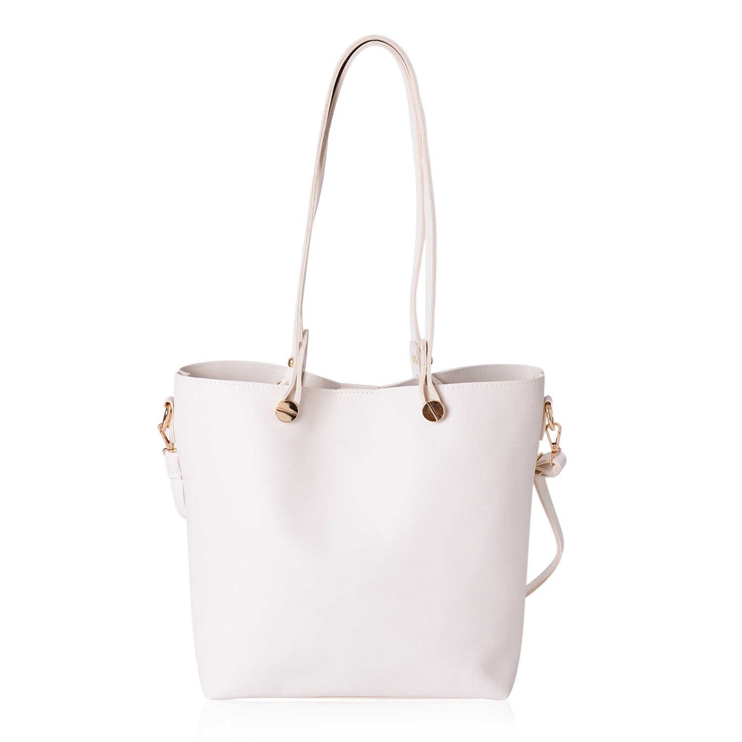 Madame CJ Vegan Leather Tote with pouch in Cream - Houzz of DVA Boutique