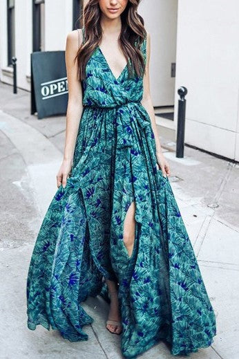 Grenada Bound Tropical Print Chiffon Maxi Wrap Dress - Houzz of DVA Boutique