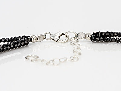 Round Black Spinel Three Strand Sterling Silver Necklace 54.00ctw - Houzz of DVA Boutique
