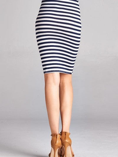 Two Way Street Navy and White Stretch Pencil Skirt - Houzz of DVA Boutique