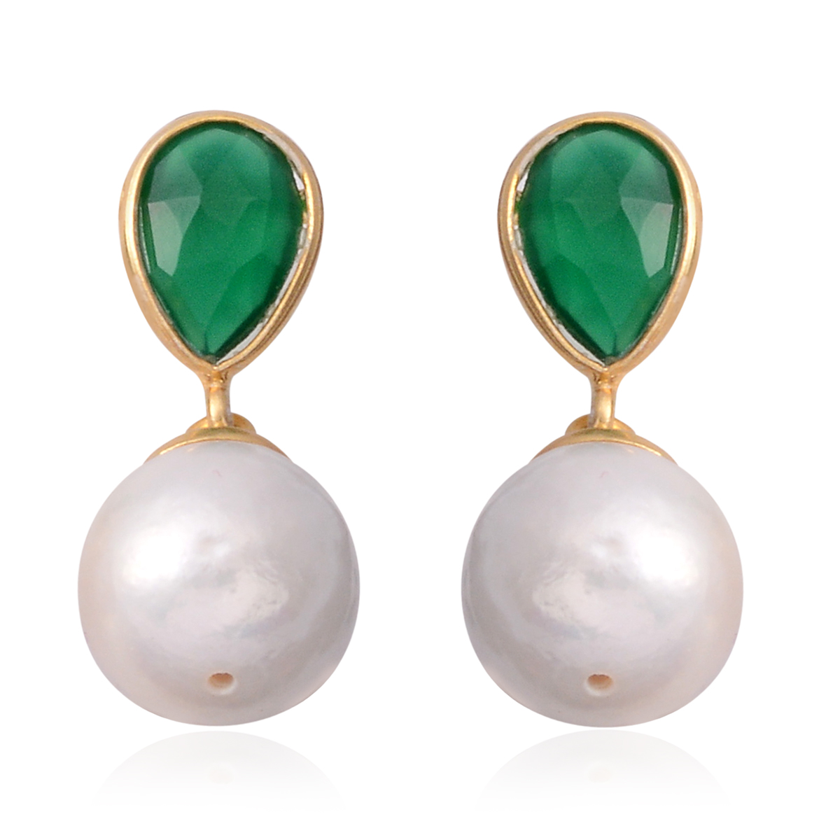 Exquisite Freshwater Pearl & Green Onyx 14K YG Over Sterling Silver Earrings TGW 0.50 cts. - Houzz of DVA Boutique