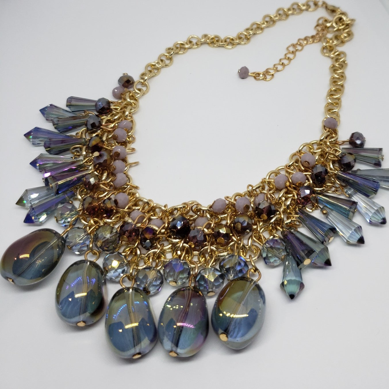 One to Own Multi Color Purple Magic Glass Bib Style Necklace - Houzz of DVA Boutique