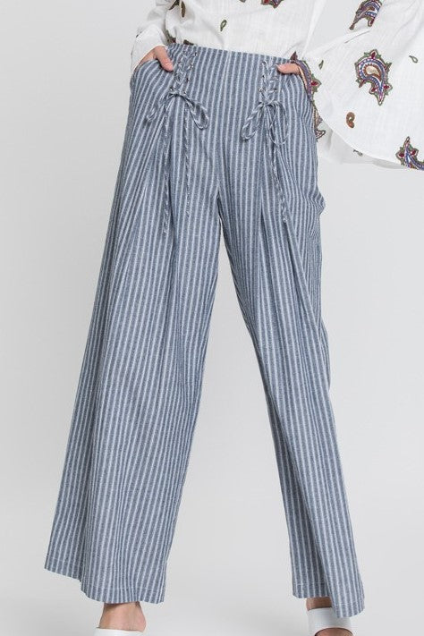 Hamilton All-Laced-Up Pants in Navy & White - Houzz of DVA Boutique