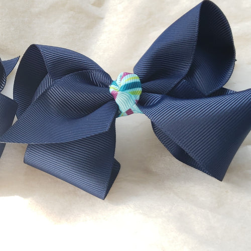 Sophia- Lynn Uniform Mini Bow Set in Navy & Turquoise Multi - Houzz of DVA Boutique
