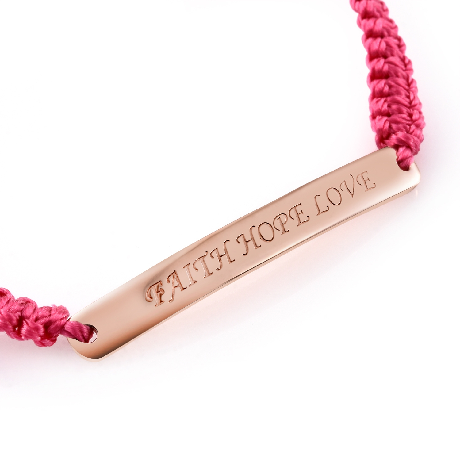 I.D. Band Style 14K RG Over Sterling Silver Faith, Hope, Love Bracelet on Pink Cord - Houzz of DVA Boutique
