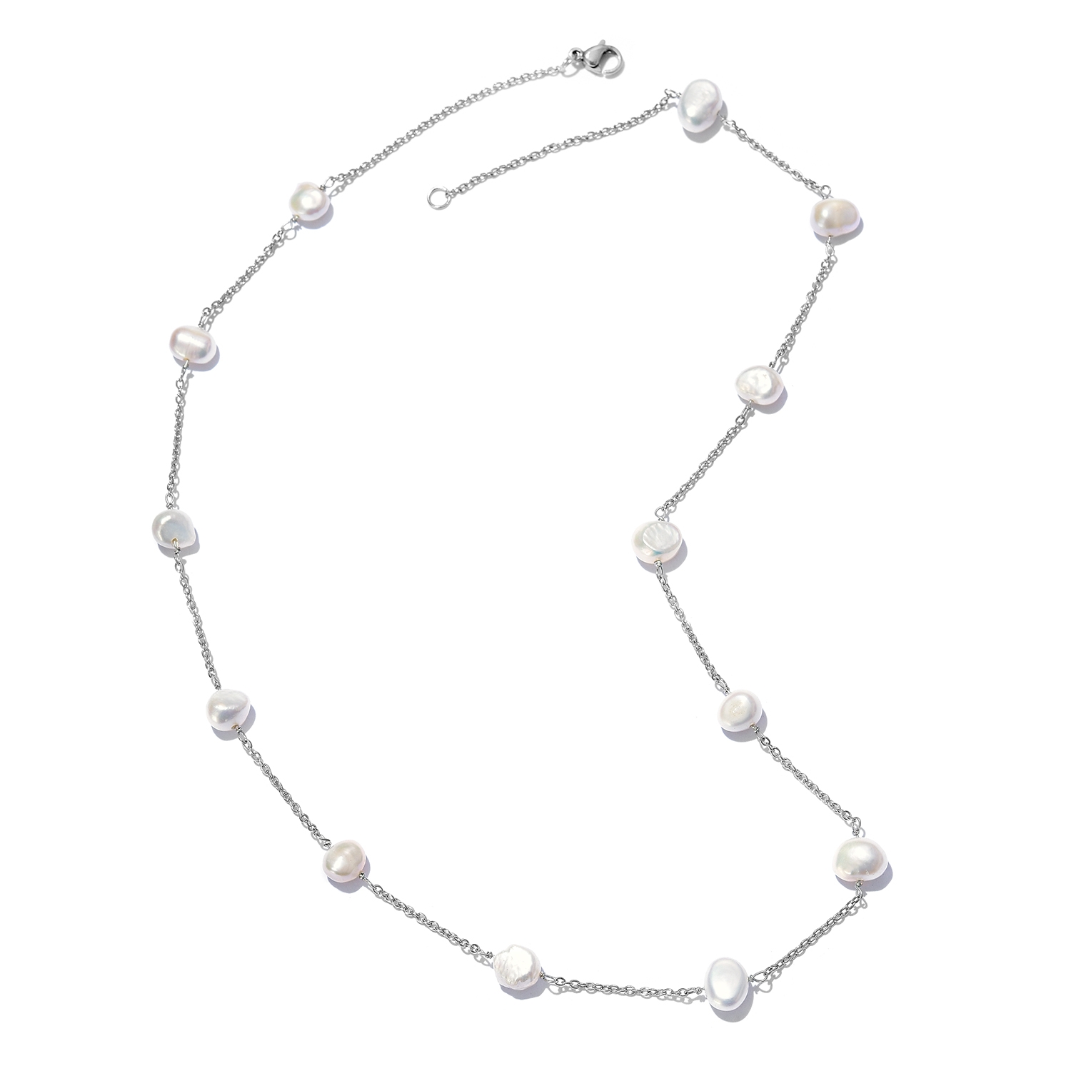 White Freshwater Pearl Station Necklace (20 in) - Houzz of DVA Boutique