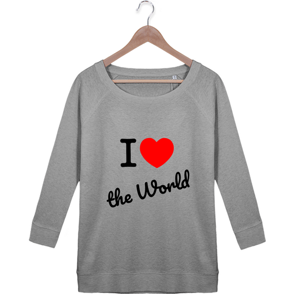 "Sweat Manches 3/4 Femme ""Love The World"" - Andryann"