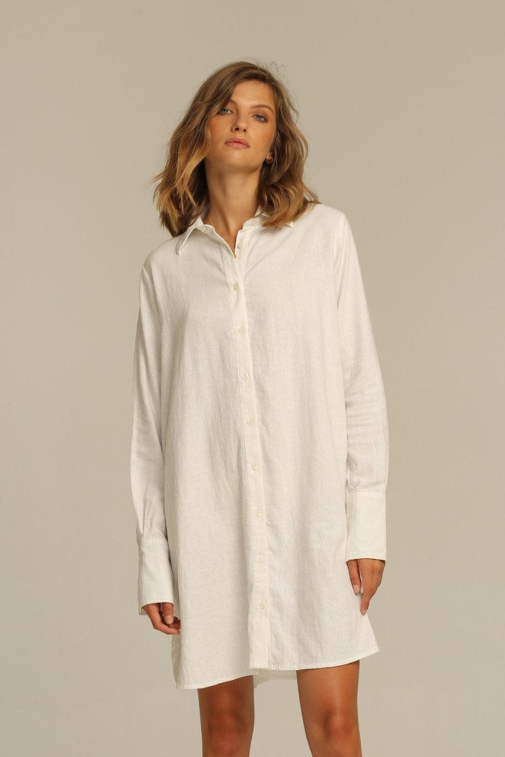 Estrella Shirt Dress / White