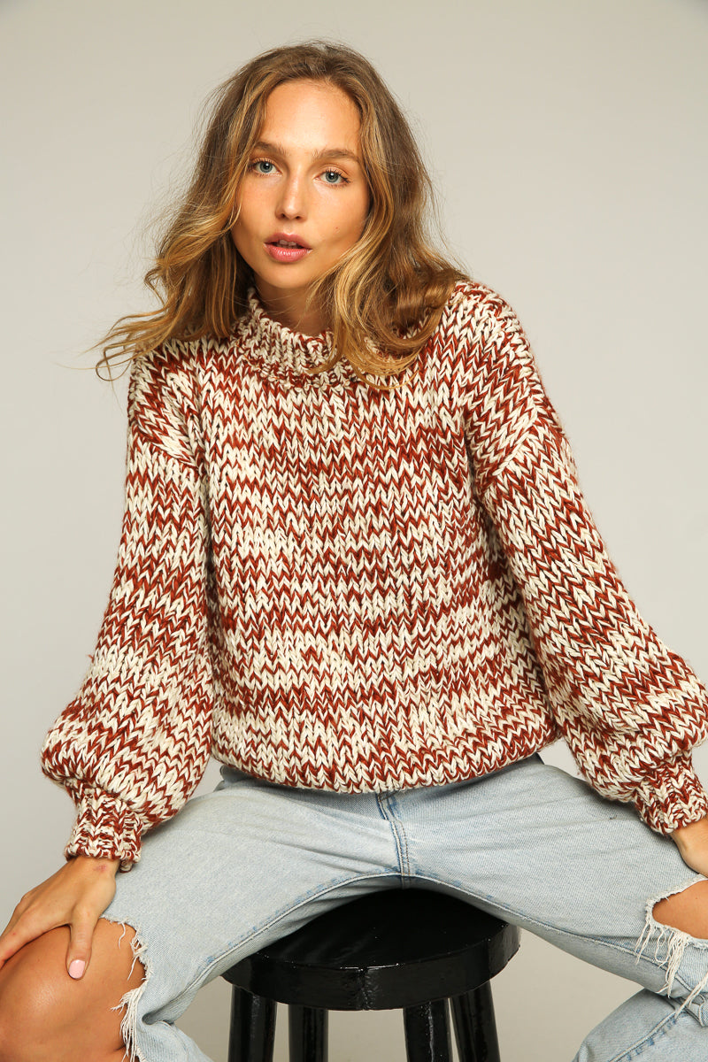Maggie May Sweater / Terracotta - White - Sand