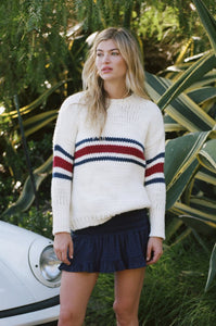 Jean Pierre Knit / White-Red-Navy