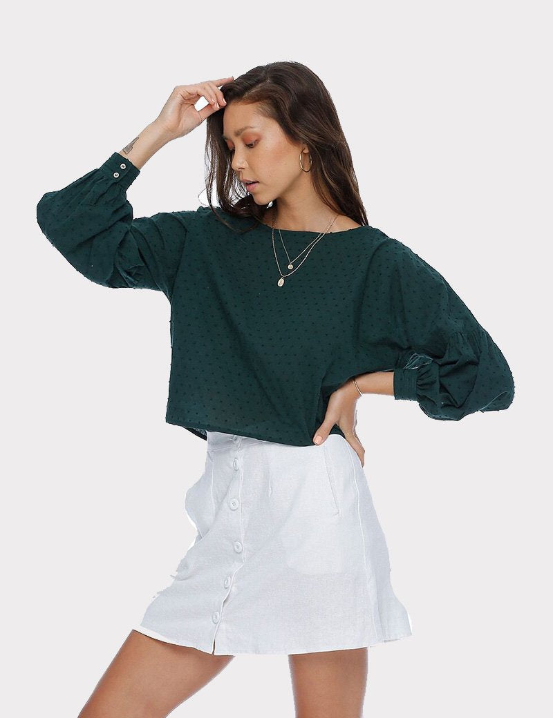 Melrose Blouse / Solid Green