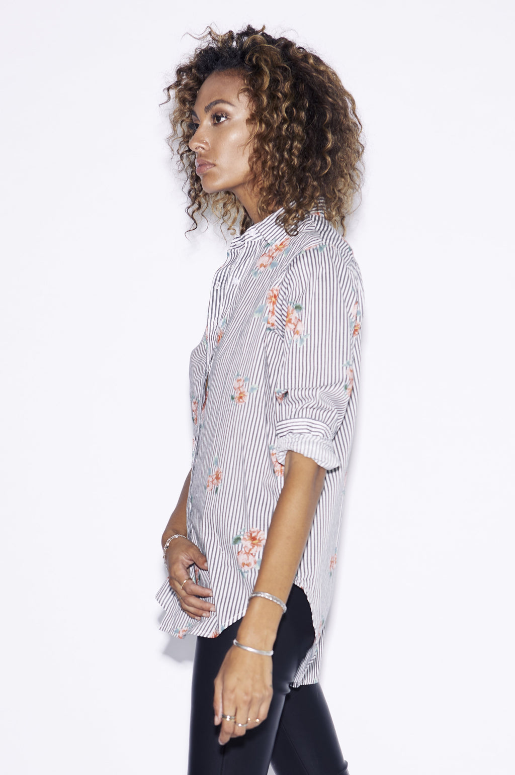 Taylor Florence Shirt / Stripe with Flowers