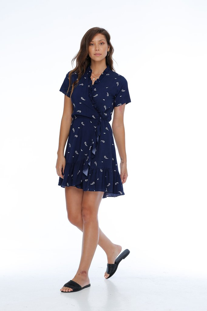 Flores Dress / Navy Paisley