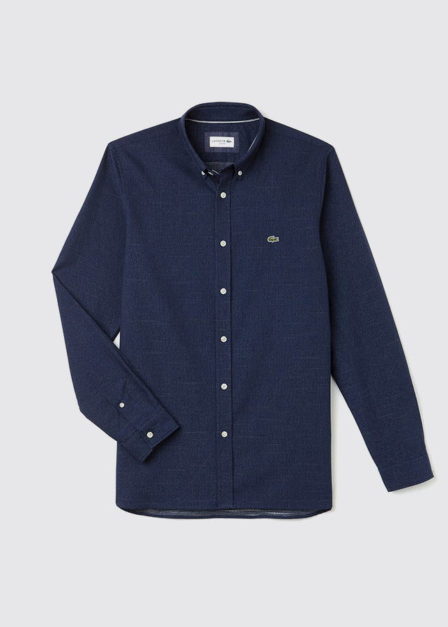 Slim Fit Jacquard Dot Shirt / Navy