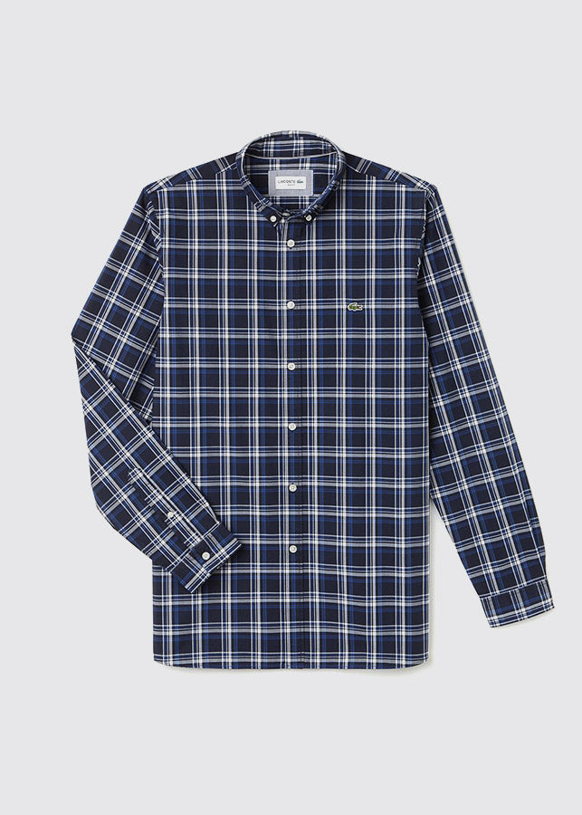 Slim Fit Giant Check Shirt / Navy