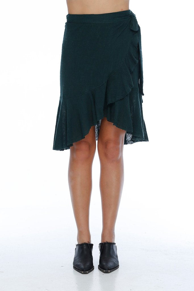Sofia Wrap Skirt / Solid Green