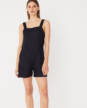 Wide Strap Linen Playsuit / Worn Navy