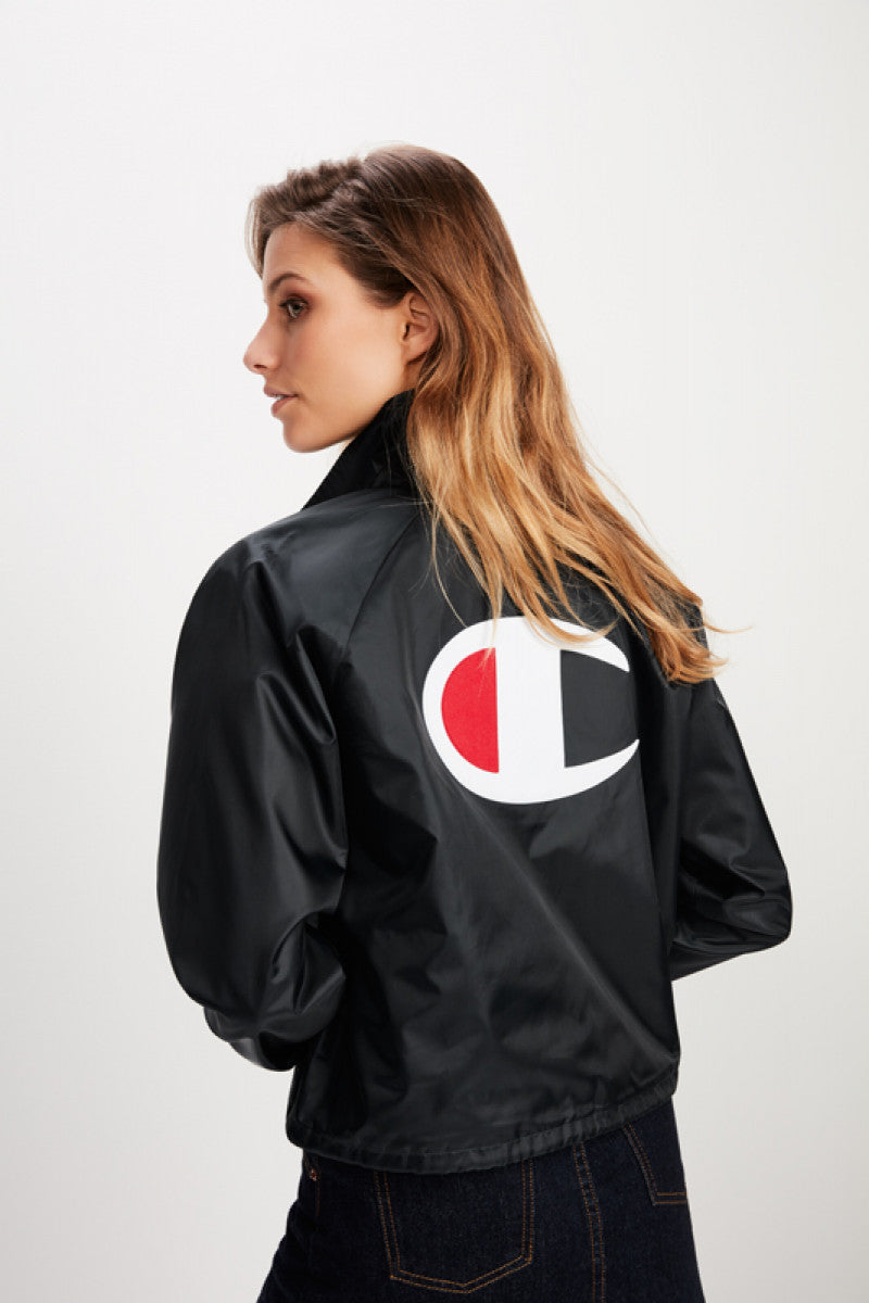 Cropped Coaches Jacket / Black
