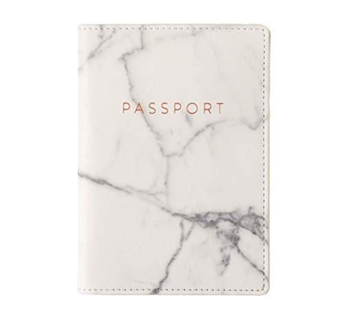 Eccolo World Traveler Travel Passport Cover Case with Storage Pocket, Marble, 6.4X4