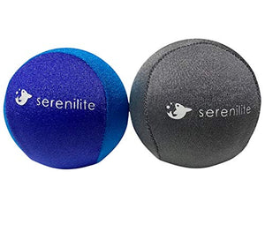 Serenilite 2-Pack Hand Therapy Stress Ball, Fidget Toys for Kids and Adults - Soft & Firm (Titanium & Royal Blue/Light Blue)